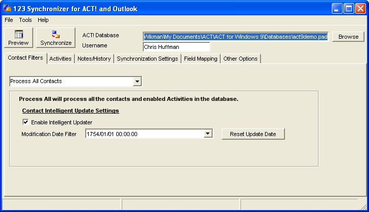 123 Sync Client for ACT and Outlook